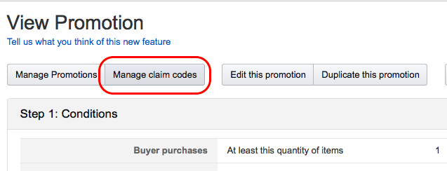 Manage claim codes for single use coupon codes