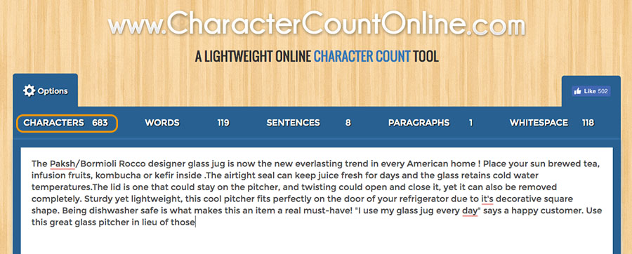 Character count online tool for Amazon product descriptions