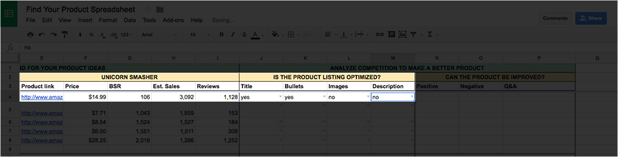 What to sell on Amazon product description spreadsheet