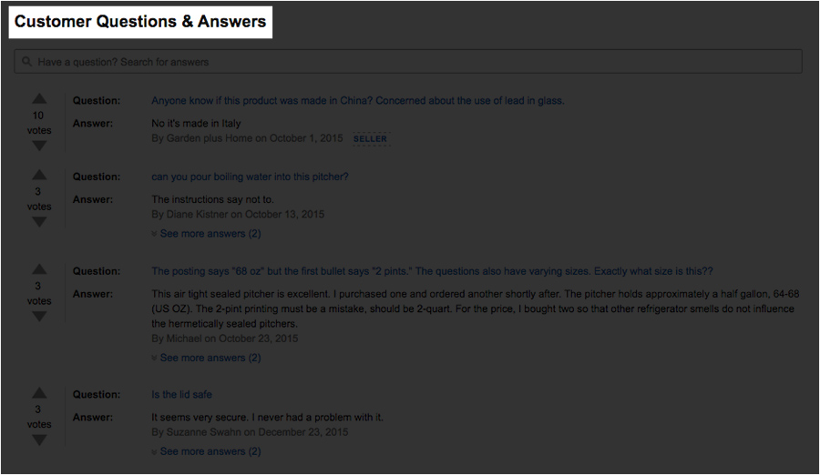 Check customer questions and answers
