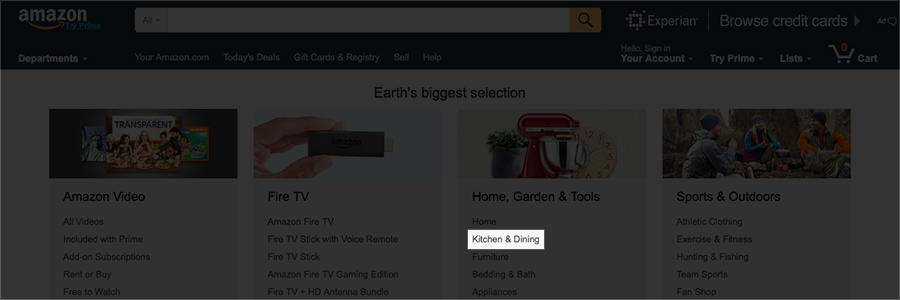 Kitchen and dining amazon product category