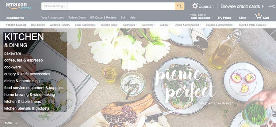 Amazon kitchen products homepage