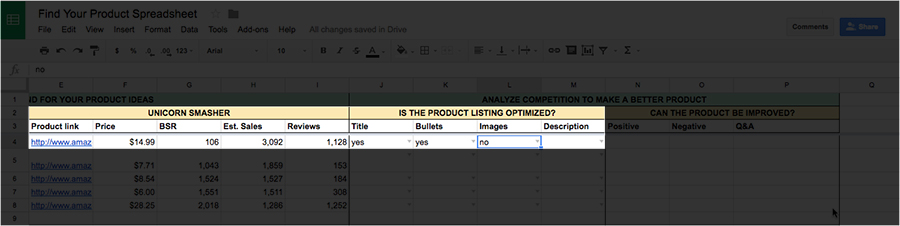 What to sell on Amazon spreadsheet images