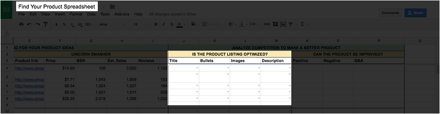 Put if the product is optimized in your spreadsheet