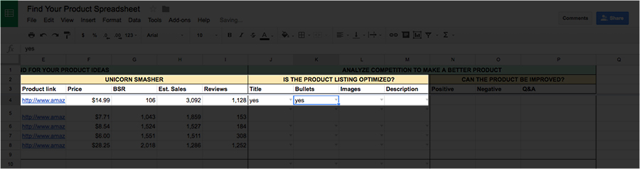 Spreadsheet bullet points