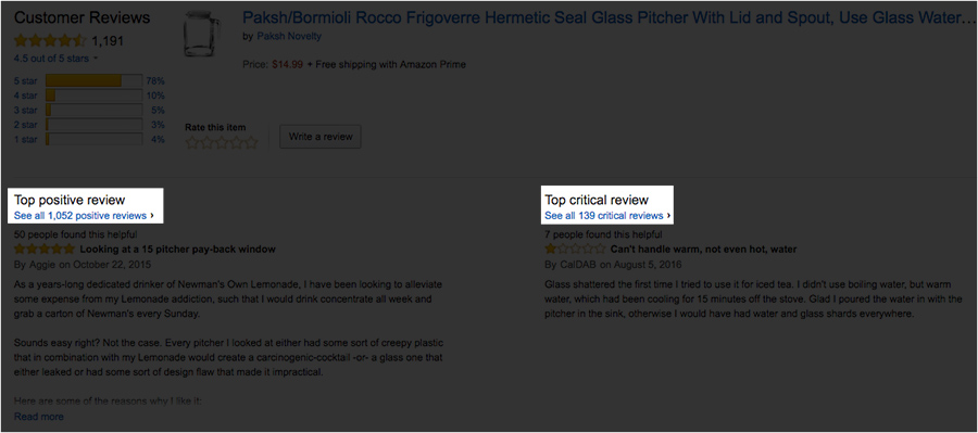 View top and critical reviews