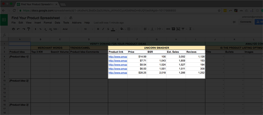 Unicorn Smasher data into what to sell on Amazon spreadsheet