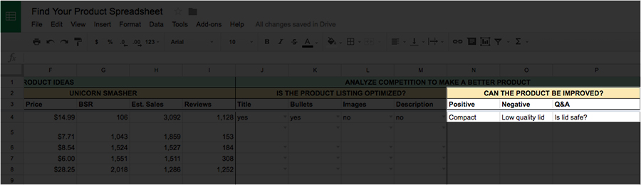 Product flaws filled out on the Spreadsheet